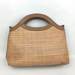 Genuine FOSSIL Handbag Purse Woven Wicker Brown